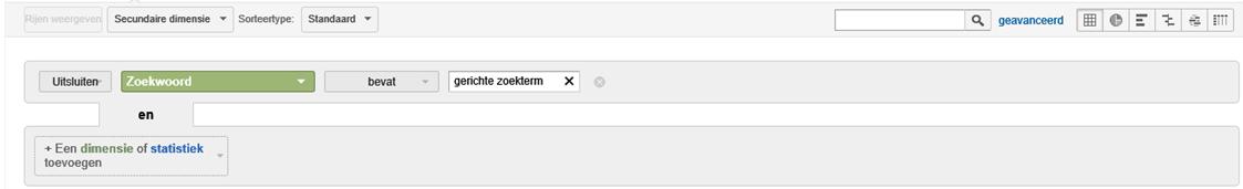 In Google Analytics uitsluiten van een zoekwoord